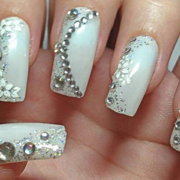 3D White Bridal False Nails. White Acyclic press on nails with diamonds. Nail art perfect for proms and weddings Glue included.
