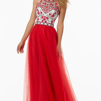 Long Tulle Open Back Halter Prom Dress