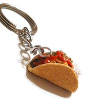 Taco Key Chain, Polymer Clay Food Accessories