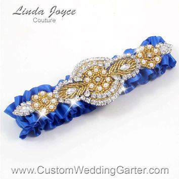 Royal Blue and Gold Vintage Wedding Garter Rhinestone 350 Royal Blue Custom Luxury Prom Garter Plus Size & Queen Size Available