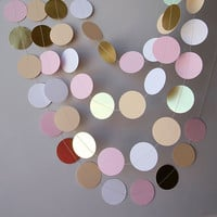 Bridal shower decor, Bridal shower decorations, Gold, pink, white and beige paper garland, Baby shower decorations, Wedding paper garland,