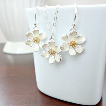Flower jewelry set, Daisy jewelry set, Flower girl jewelry set, Wedding jewelry set, Bridesmaid gift