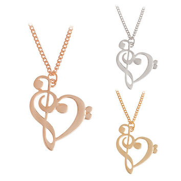 Stylish Jewelry Shiny Accessory Heart Musical Note Necklace [10893370639]