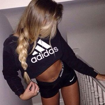 LMFON Adidas' Fashion Short Shirt Crop Long Sleeve Top Sweater Pullover