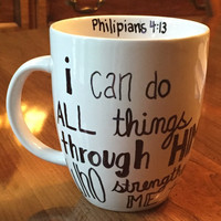 "Religious Mug, ""I can do all things through Him who strengthens me."""