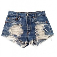 Women's Vintage Levi's Distressed Stone Dreamer High Waisted Cut-Off Shorts