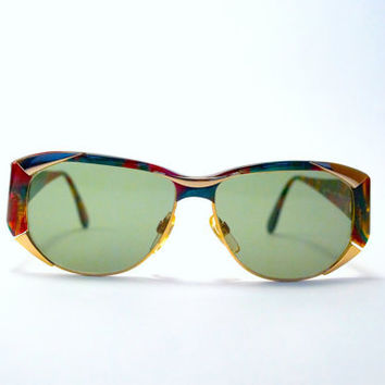 0809b4d76f3d5 Vintage 80s 90s OUTRAGEOUS Multi Colored Sunglasses w Chunky .