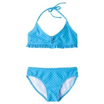 Xhilaration® Girls' 2-Piece Polka Dot Halter Swimsuit