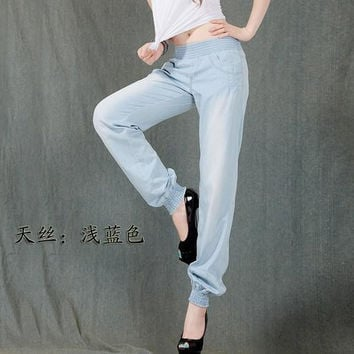 Women Tencel Harem Pants stylish lady Wash blue casual loose pant korea style summer autumn women trouser