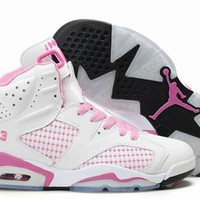 Hot Nike Air Jordans 6 Women Shoes Embroidery White Pink