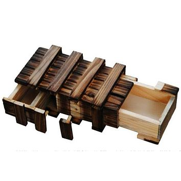 Wooden Puzzle Box With Secret Wood Drawer Magic Compartment Brain Teaser Educational Toys for Children Gift Wooden Toys Puzzle