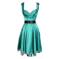 Long Green Satin Dress