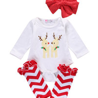 2016 Baby Girls Infant Christmas Bodysuits Ruffle Leg Warmers Headband Children Clothes Outfit