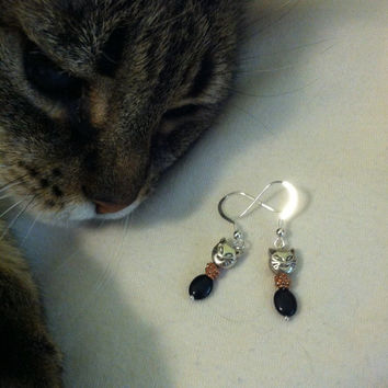 Cat Earrings Hand Made Black Onyx and Sterling Silver Kitty Earrings Fall Halloween Jewelry Cat Lover's Earrings Feline Jewelry Gift for Her