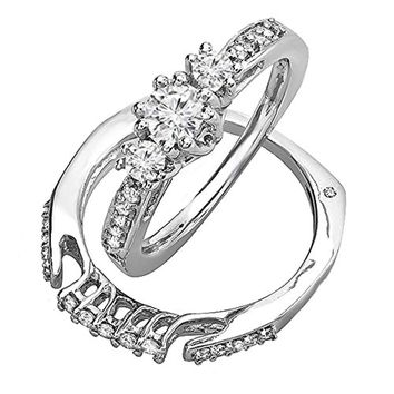 CERTIFIED 0.75 Carat 14k White Gold 3 Stone Round Diamond Ladies Bridal Ring Set