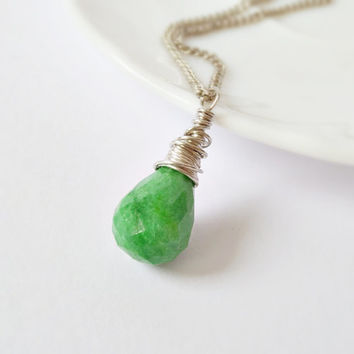 Green emerald sterling silver wire wrapped pendant, genuine emerald tear drop pendant, natural stone pendant, may birthstone pendant