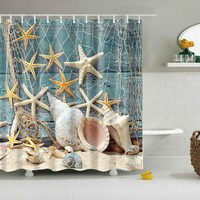 Bath Curtains Waterproof Beach Shells /African Woman Bathroom Shower Curtain