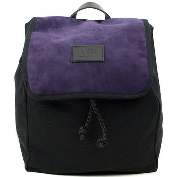 Violet Globe Split Leather Backpack, Canvas and Split Leather Backpack, Mediterranean Inspired, Women's Backpack