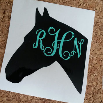 Horse Monogram | Horse Decal | Monogram | Monogrammed | Laptop sticker | Vinyl Decal | Horse | Horse Trailer | Saddle decal | Glitter decal