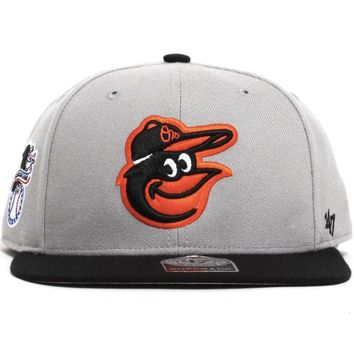 Baltimore Orioles Sure Shot Two-Tone Snapback Hat Grey / Black