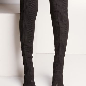 Textile Over The Knee Open Toe High Chunky Heel Gap Boots in Black