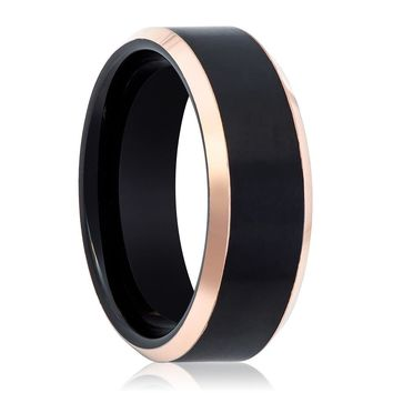 Black and Rose Gold Beveled Edge Tungsten Men's Wedding Band