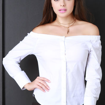 Long Sleeve Off The Shoulder Button Up Top
