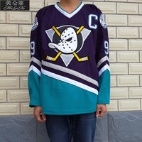 Anaheim Mighty Ducks Movie Jerseys #9 Kariya Jersey Purple Green White Throwback
