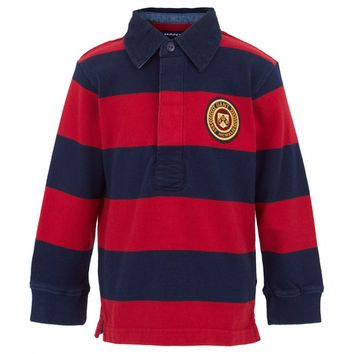 Red and Navy Striped Rugby Shirt