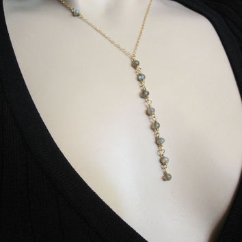 Layer Y Nacklace, Labradorite Necklace, Dainty 14k Gold Fill or Sterling Silver, Celebrity Gift, Stone Y Necklace