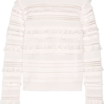 Oscar de la Renta - Ruffled and fringe-trimmed silk-blend top