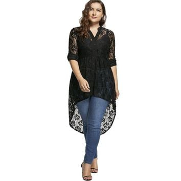 Plus Size Lace Long Top