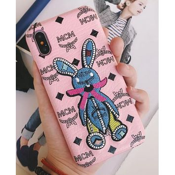 MCM iPhonex mobile phone shell 8plus luxurious hot air leather protection cover 6sp rabbit pop icon