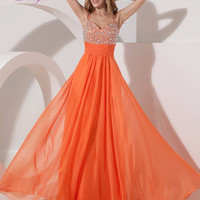 Dreagel Luxury Sweetheart Crystal Beaded A-line Prom Dresses 2017 Orange Chiffon Waist Pleated Formal Party Gown Robe de Soiree