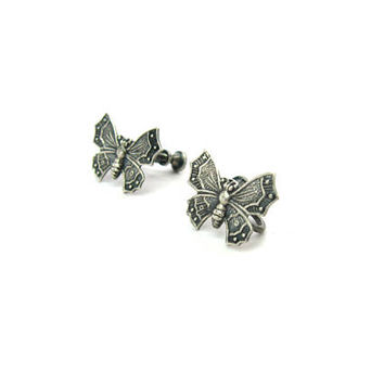 Chinese Butterfly Earrings. Small Sterling Silver Asian Style Screw Backs Embossed Stamped Figurals Vintage 1950s Mid Century Nature Jewelry