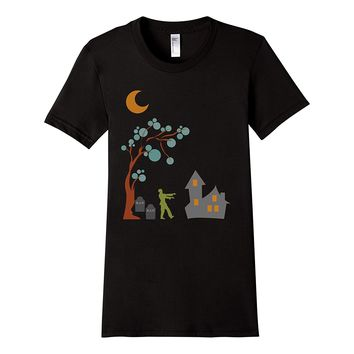 Spooky Halloween Zombie Graves Full Moon Shirt
