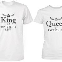 King and Queen of Everything Matching Couple White T-shirts (Set)