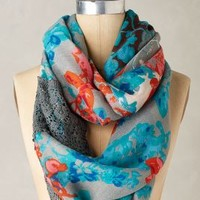 Effulgent Flora Infinity Scarf by Anthropologie in Blue Motif Size: One Size Scarves