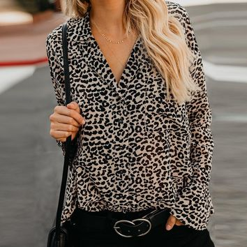 Leopard Top Women V-Neck Flare Sleeve Loose Casual Shirt Ladies Autumn Long Sleeve Blouse Streetwear #EP