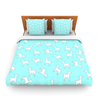 "Monika Strigel ""Baby Llama Multi"" Blue White Lightweight Duvet Cover"
