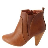 Elasticized Cone Heel Ankle Boots by Charlotte Russe - Cognac