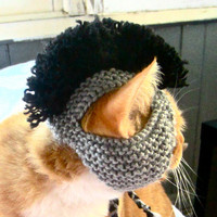 Hand Knit Mohawk Cat Hat - Gray and Black - Cat Costume