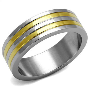 Men's 14K Gold & Stainless Steel Wedding Bands Ring