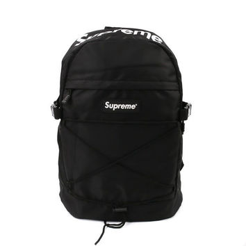 Supreme Print Black Back To School Casual Alphabet Backpack