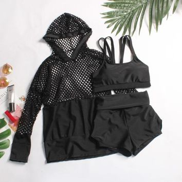 2 Two Piece Bikini Swimsuit Female Bikini Set Swimwear Ladies 2018 Two Piece For Women Women's Summer Clothes Push Up Cover Plaid Polyester Sierra KO_21_2