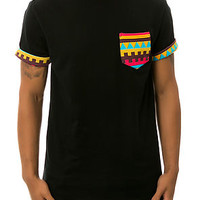 The Patterned Pocket Roll Up Tee in Black & Red