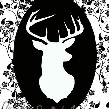 Deer head Print Silhouette Gift idea Printable Black White floral deer Wall Art decor INSTANT DOWNLOAD Home Decor Deer Poster prints