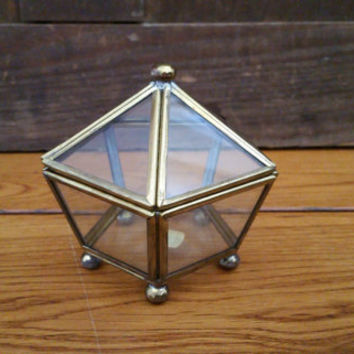 Vintage Small Brass Vitrine Glass Pentagon Display Case Jewelry Box
