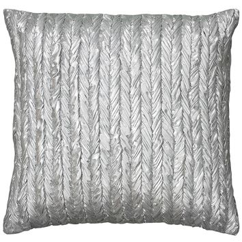 Rizzy Home T05915 Metallic Fabric with Gathers Decorative Pillow, 18 by 18-Inch, Silver