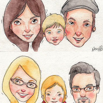 Personalized Watercolor Portrait / Original Art